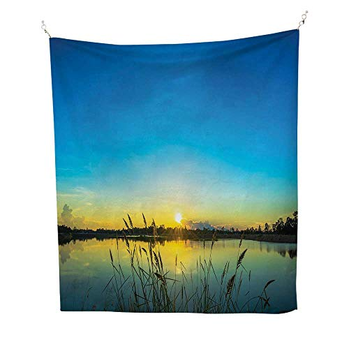 Lakeoutdoor tapestrySun Rising in Blue Sky Quiet Outdoors with Reed Bed Serenity in Country 70W x 84L inch Ceiling tapestryBlue Turquoise Yellow (Reeds Furniture Country)