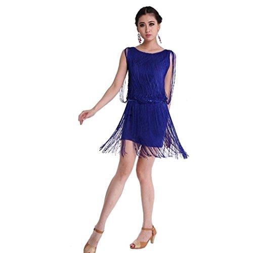 Hellojuncao Sexy Crewneck Tassel Salsa Samba Rumba Tango Latin Dance Dress