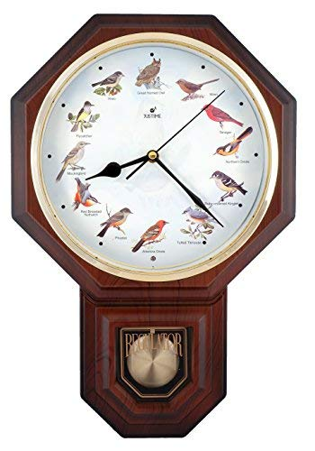 (Unique 12 North America Bird's Song Schoolhouse Pendulum Wall Clock with Chimes Every Hour Melody Made in Taiwan (TCBD-PP0259 Wood Grain))