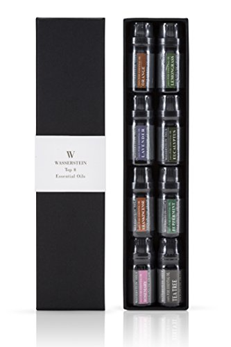 Aromatherapy 100% Pure Therapeutic Grade Basic Essential Oil Gift Set- 10 ML by Wasserstein (Lavender, Tea Tree, Eucalyptus, Lemongrass, Rosemary, Frankincense, Orange, Peppermint) (Top 8) (10 Ml Sampler)
