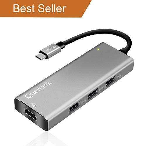 USB C Hub, USB C Adapter, Queretek Type C Adapter 7-in-1 with PD Power Delivery, SD Card Reader, 4K USB C to HDMI, 3 USB 3.0 Ports for MacBook, Google Chromebook, Surface Book - Space Gray
