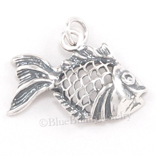 (ANGEL FISH Charm Pendant Swimming Fish Beach Ocean FILIGREE 925 STERLING SILVER Jewelry Making Supply Pendant Bracelet DIY Crafting by Wholesale Charms)