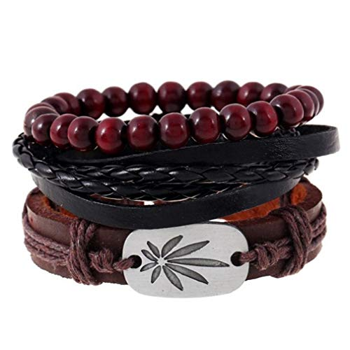 ICHQ Simple Vintage Woven Leather Men's Mixed Bracelet Alloy Maple Leaf Leather Adjustable Rope Handmade Multi Strand Braided Cowhide Bracelet Multi-Layer Set (Brown) ()