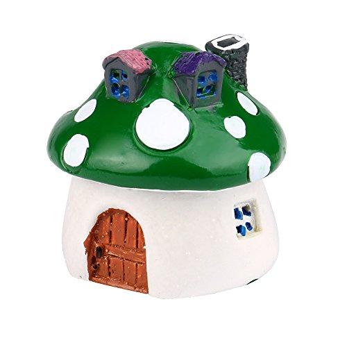 Kanzd Mushroom Miniature Garden Ornament DIY Craft Pot Fairy Dollhouse Decor (Green)
