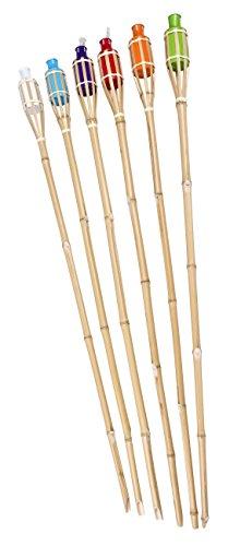 6 x Fackeln Gartenfackeln Bambus Bambusfackel Ölfackeln in 6 Farben
