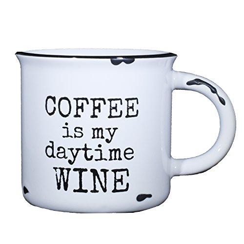 Coffee Is My Daytime Wine - Funny Coffee Mug for Women - 15 oz Ceramic Campfire Mug | Coffee Mug | Tea Mug for Her ()