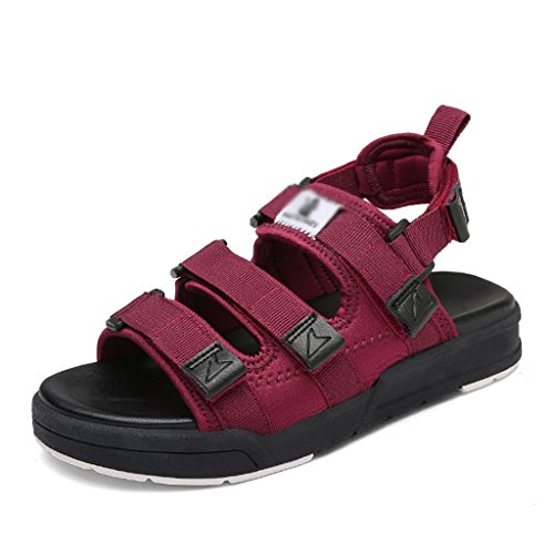 Student Summer Shoes Wine Shoes Red Casual 35 Shoes Flat Flat Wild Velcro White Sandals Beach ZCJB Sport Size Color B5UTqY