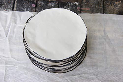 White Porcelain Dinner Plates with Black Edging - Set of 4