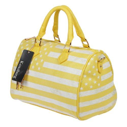 070 USA Print Henkeltasche in gelb weiss used Look Umhängetasche Shopper Bag Handtasche Tasche von M. Kossberg