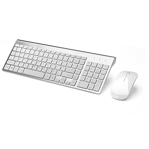 JOYACCESS Wireless Keyboard Combo Full-size Whisper-quiet Wireless Keyboard and Mouse for Desktop and Mac in Ergonomic Design-Silver (Mac Ergonomic Wireless Keyboard)