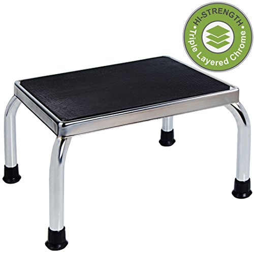 Medical Foot Step Stool with Anti-Skid Rubber Platform, Lightweight and Sturdy Chrome Stool for Children and Adults by Vaunn