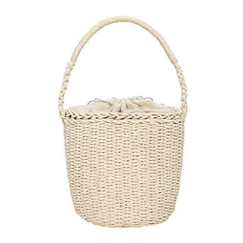 - DZTZ Women's Fashion Straw Woven Bag Solid Color Handbag Wild Casual Bucket Bag Weekend Shopping Bag Tote Work Bag (Beige)