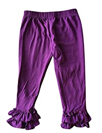 LC Boutique Girls Double Ruffle Pull On Jersey Ankle Pants Sizes 2 to 12
