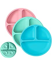 Basage Toddler Plates with Suction - Baby Plates - 100% Silicone Divided Plate - BPA Free - Microwave Safe Dishes - Set of 3