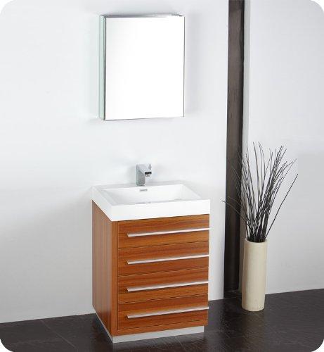 "Senza 24"" Livello Modern Bathroom Vanity Set with Medicine Cabinet Base Finish: Teak"
