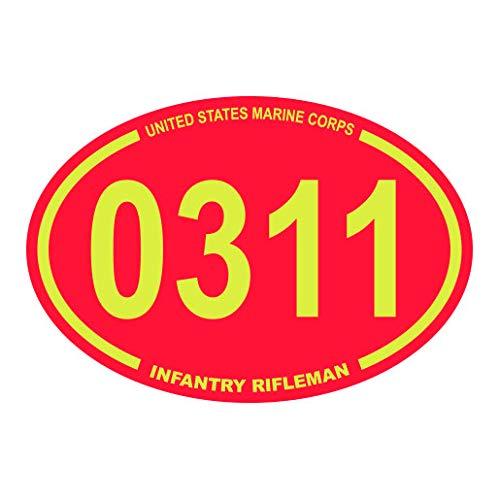 United States Marine Corps MOS 0311 Infantry Rifleman Red Oval Sticker Premium Decal Die Cut USMC Semper fi