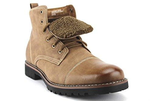 Ferro Aldo Men's 506019F Ankle High Cap Toe Fleece Lined Military Combat Winter Boots, Light Brown, 12