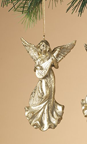 Beautiful Gold Angel Christmas Ornament Playing Musical Instrument 5
