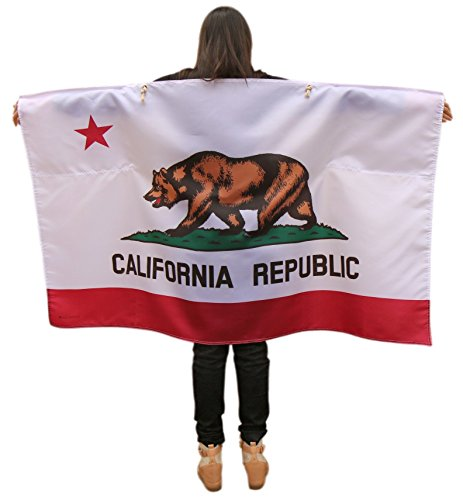 [California Californian Republic Flag Cape With Microfiber Storage Pouch - Full Size Wearable Flag with Sleeves and Soft Neck Tie for Adults - Use it as a Poncho, Wrap, Cloak, Or Shawl] (The Californians Costume)