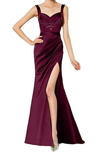 Strass Elegant Traeger Schlitz Spitze Damen Abendkleid Ivydressing Weinrot Rueckenfrei Partykleid Falte Satin Aermellos Ballkleid vwqRIInBU