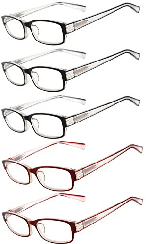 Readers 5 Pack of Elegant Womens Reading Glasses with Beautiful Patterns for Ladies Deluxe Spring Hinge Stylish Look 180 Day Guarantee - Online Glasses Designer Reading