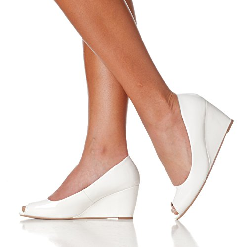 Riverberry Pumps Mid Wedge Toe Height Women's Patent White Peep Addie RwTaxq4ZR