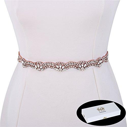 Bridal Applique Belt, FANGZHIDI 1 Yard Bridesmaid Wedding Rhinestone Sash. Rose Gold ()