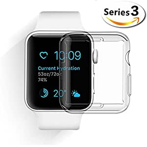 Apple Watch Series 3 Case, Merrymall iPhone Watch 3 TPU Screen Protector All-around Clear Thin Cover for New iWatch 3 (Series 3 38mm)