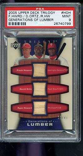2005 Upper Deck Trilogy Generations of Lumber Frank Howard David Ortiz Ryan Howard 19/85 Bat Game-Used Graded Baseball MLB Card MINT PSA 9