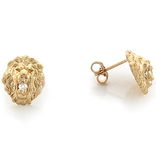 Pin Head Lion (10k Yellow Gold 1.1cm Lion Head with Round CZ Pin Earrings)