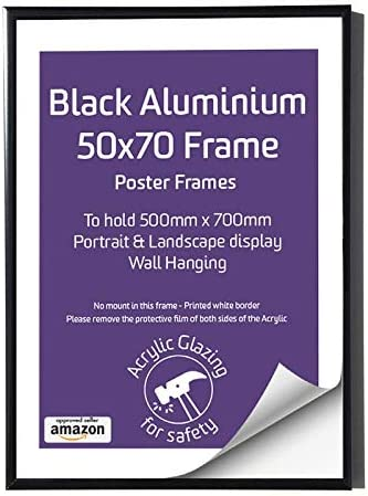 Black Metal Frame 500 x 700mm 50 x 70cm Black Aluminium Picture Frame with Perspex Poster Frames to Hang both Landscape and Portrait