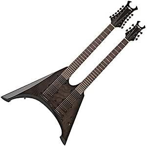 Guitarra Electrica Harlem V de Doble Mastil de Gear4music - Negro ...