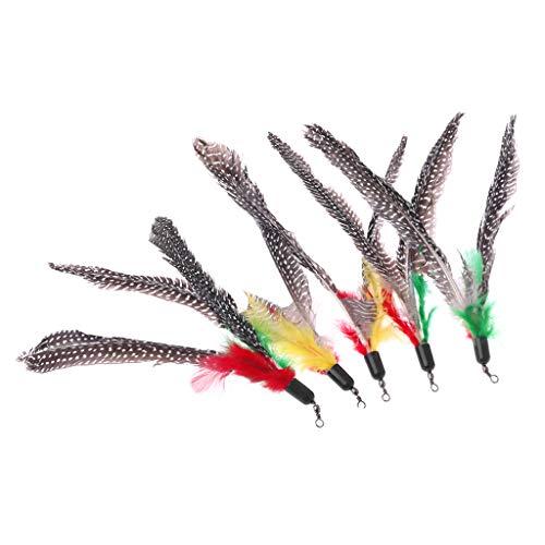 (HOWWOH 5 Pieces Handmade Natural Feather Cat Toy Da Bird Refills Interactive Teaser Sticks)