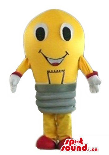 Lightbulb Costumes (Yellow Light bulb SpotSound Mascot US with gray necklace cylinder body)