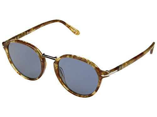 Persol  Men's 0PO3184S Brown Spotted Beige/Light Blue One - Sunglass Persol Case
