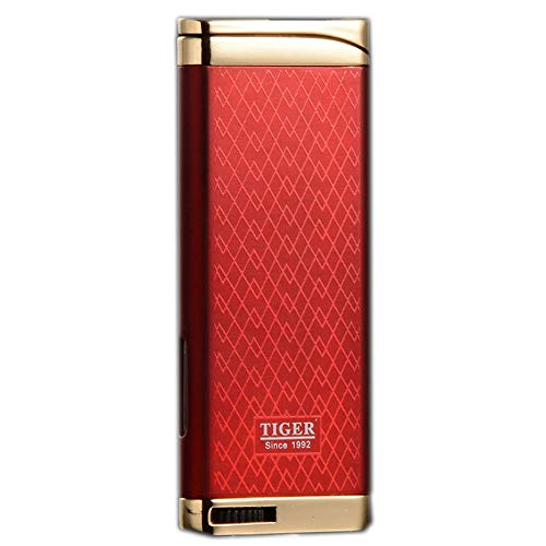 Refillable Blue Flame Adjustable Ultra-Thin Butane Viewable Windproof Cigar Cigarette Lighter Red ()