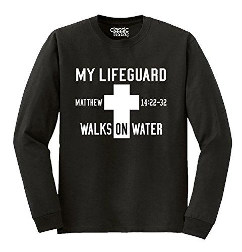 97c459db13d Christian My Lifeguard Walks On Water Printed Adult Long Sleeve T ...