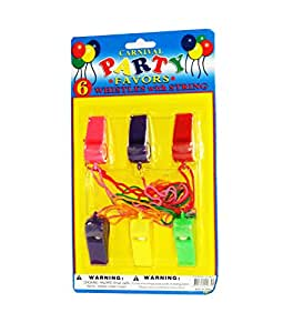 Plastic Whistle Classic Enhanced With Mouth Grip & Rope 6 Pieces Set - Assorted Color