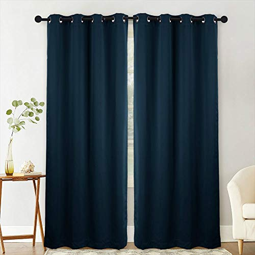 - NANAN Blackout Curtain Panels Window Drapes, Thermal Insulated Solid Grommet Blackout Room Darkening Draperies for Bedroom/Living Room- W52 x L63 Inch,2 Panels, Navy Blue