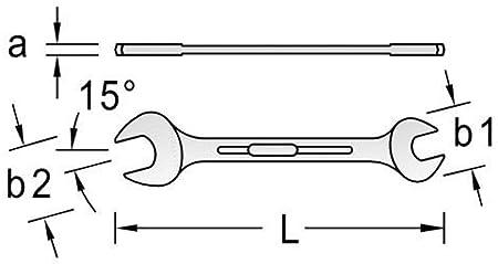 Silber Hochwertiger Vanadium-Stahl GEDORE Doppelmaulschl/üssel 18 x 21 mm Blendfreie Optik Nach DIN 3110