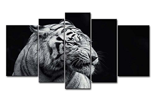 So Crazy Art Black And White 5 Panel Wall Art Painting White Tiger Pictures Prints On Canvas Animal The Picture Decor Oil For Home Modern Decoration Print -