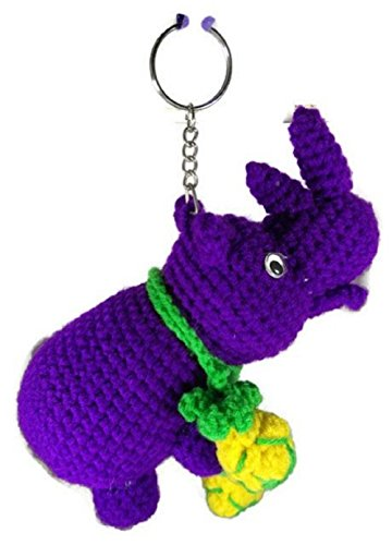 [Chic Cute 2 in 1 Hand Knit Keychain Doll, Rhinoceros Rhino Yellow Pineapple] (St Bernard Baby Costumes)