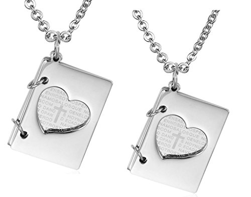 Daesar His & His Necklace Set Couples Stainless Steel Heart Bible of Love Cross Love Book Pendant