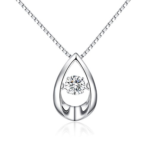 Teardrop Pendant Necklace,925 Sterling Silver Dancing Diamond Cubic Zirconia Teardrop Pendant,Charm Infinity Tear Drop Pendant,Fashion and Classic Sterling Silver Necklace for Women
