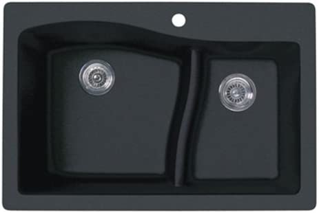 Swanstone QZ03322LS.077 Granite 1-Hole Dual Mount Single-Bowl Kitchen Sink, 33-in L X 22-in H X 10-in H, Nero