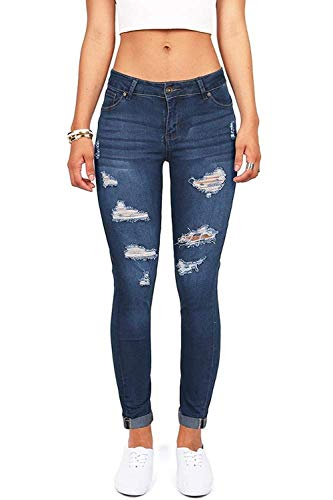 (Women's Juniors Distressed Denim Jeans High Waisted Stretch Ripped Skinny Jegging Pants)