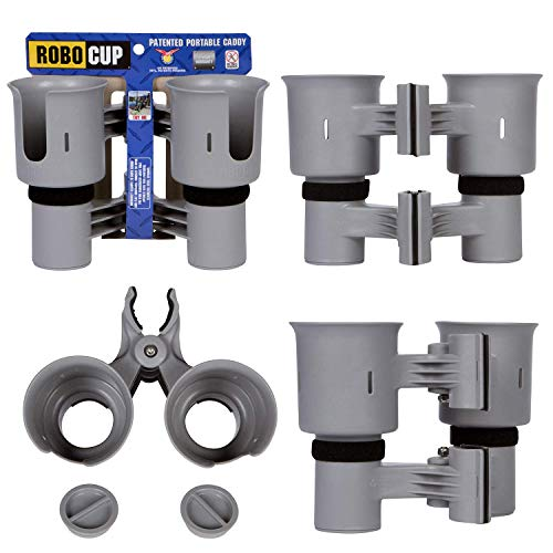Cup Portable Holders - ROBOCUP Gray, Best Cup Holder for Drinks, Fishing Rod/Pole, Boat, Beach Chair/Golf Cart/Wheelchair/Walker/Drum Sticks/Microphone Stand