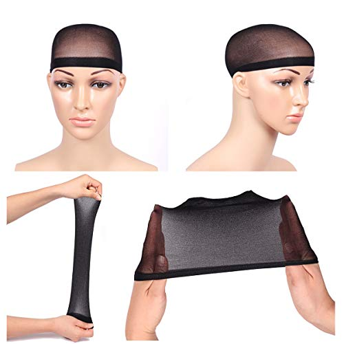 2 Pack Stocking Wig Cap 2 Pcs Per Pack Black Color]()