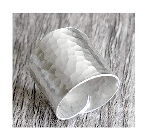 - Hammered Sterling Silver Handmade Classic Wide Band Ring,