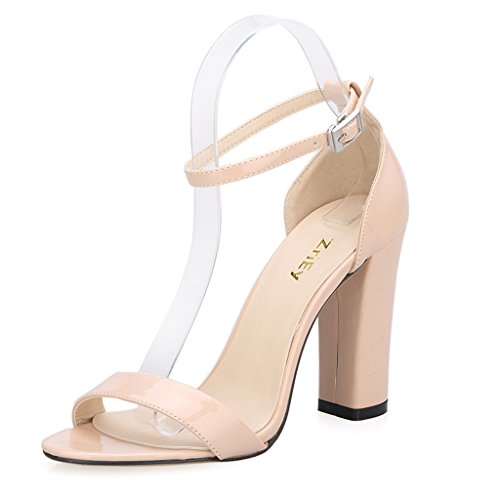 Ankle Strap Patent Leather Sandals - 5